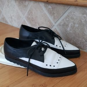 ALEXANDER WANG Black White Leather Lace-Up 7 EU37